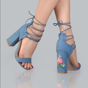 Lace up denim heels